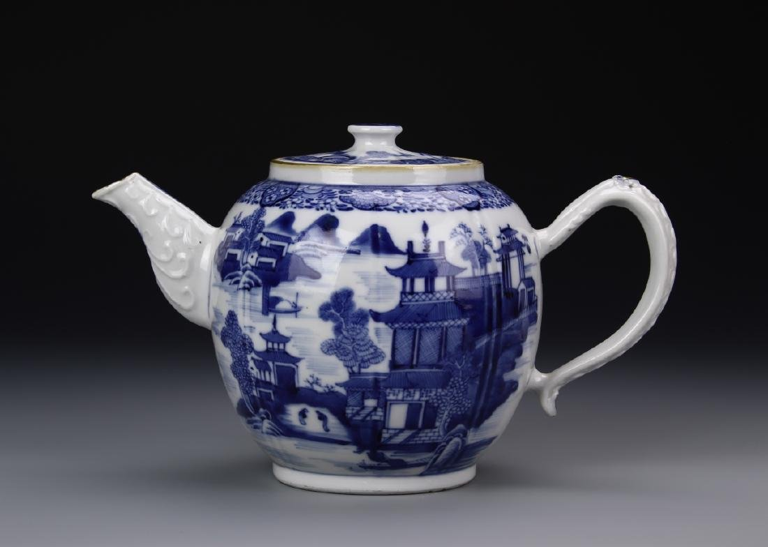 Chinese 19th Century Blue And White Export Teapot