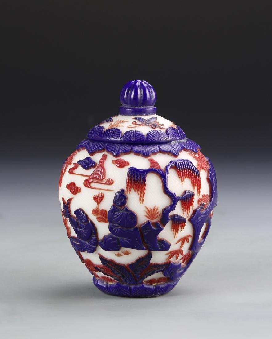 Chinese Peking Glass Covered Jar
