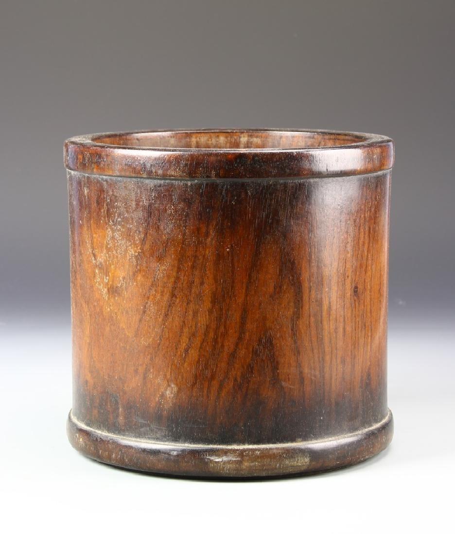 Chinese Hardwood Carved Bamboo Brush Pot