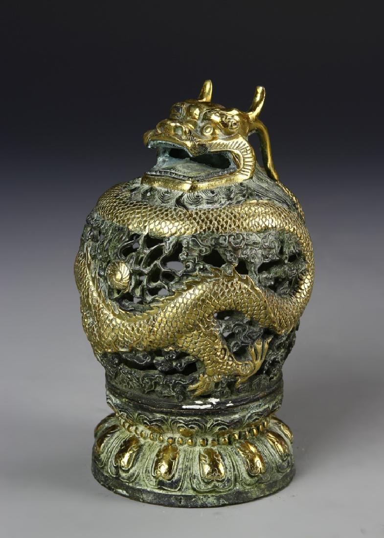Chinese Gilt Bronze Censer