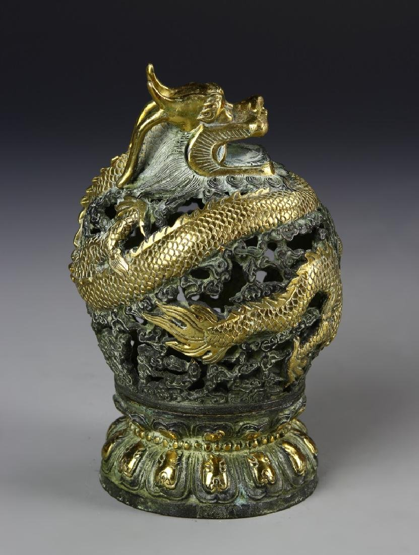 Chinese Gilt Bronze Censer - 2