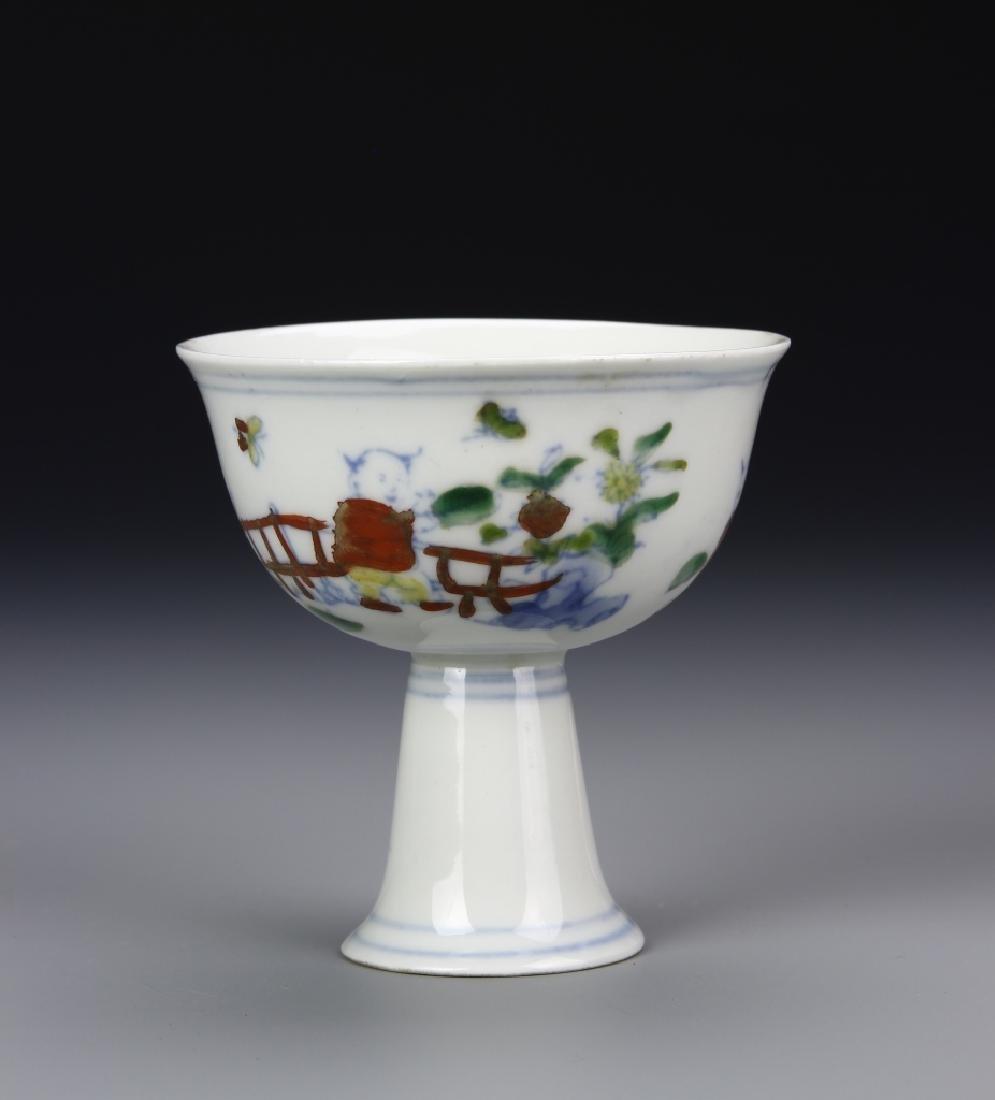Chinese Doucai High-Stem Bowl