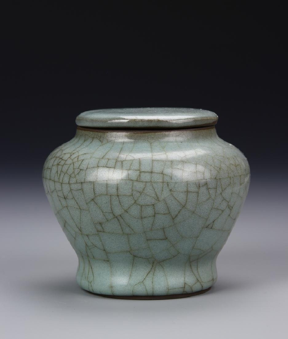 Chinese Yuan Dynasty Lung Quan Yao Jar And Lid