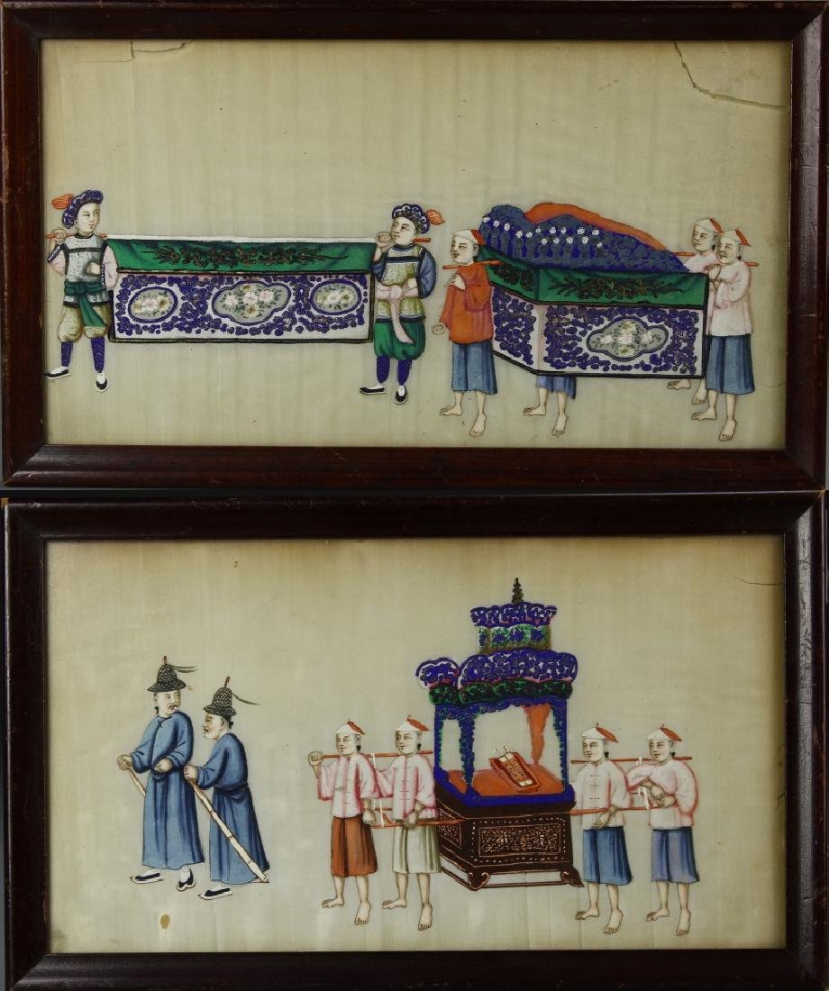 Chinese Framed  A Pair Of Paintings