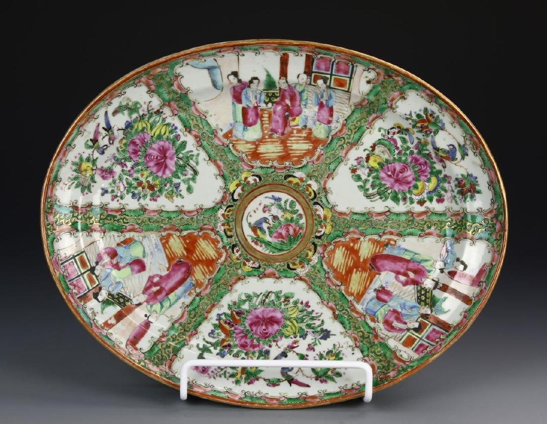 Chinese Rose Medallion Oval Shape Plate