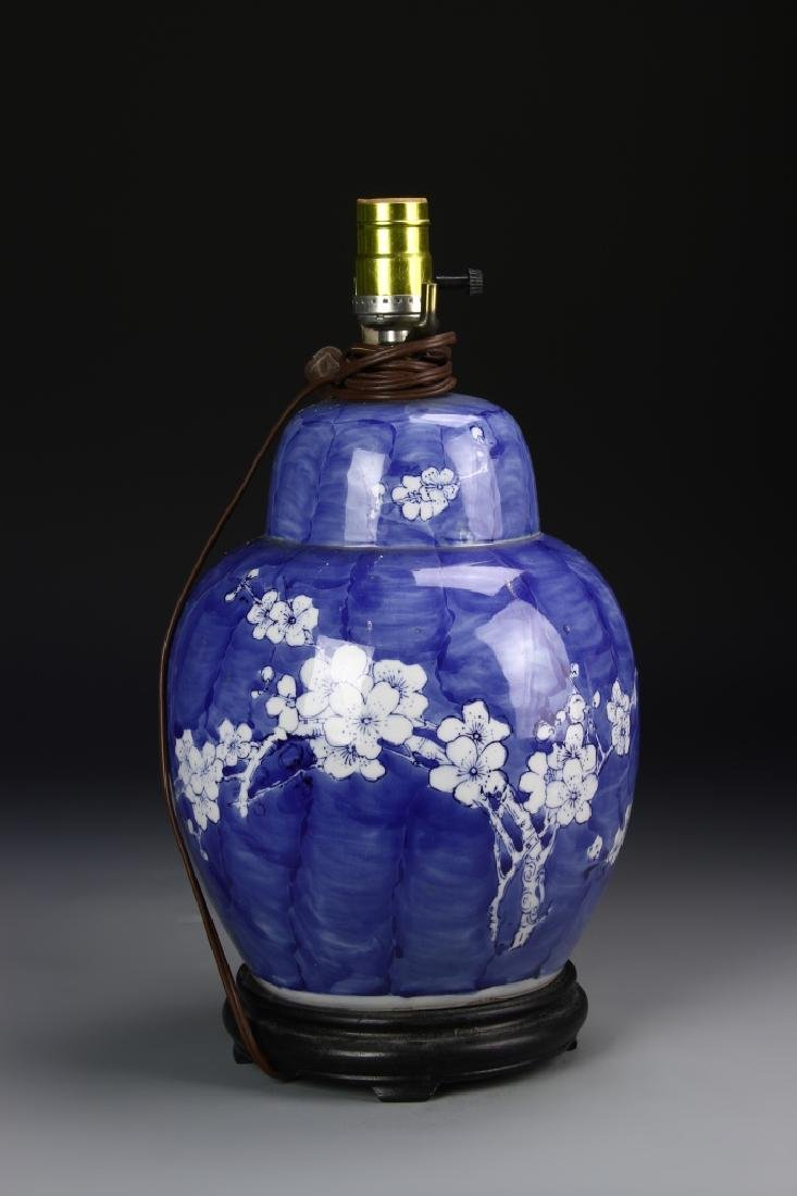 Chinese Blue And White Jar Converted Lamp