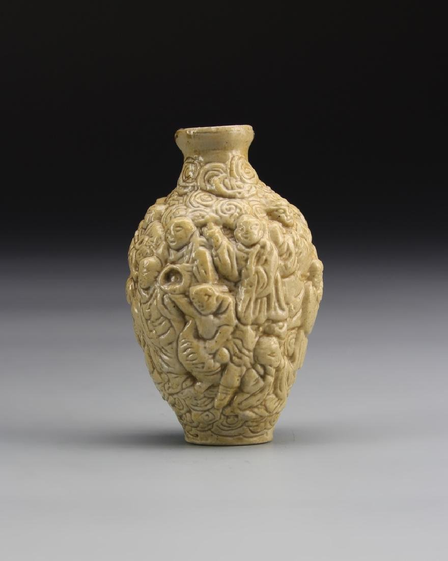 Chinese Carved Porcelain Snuff Bottle