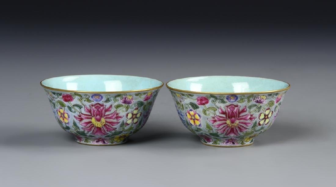 Chinese A Pair Of Enameled Bowls