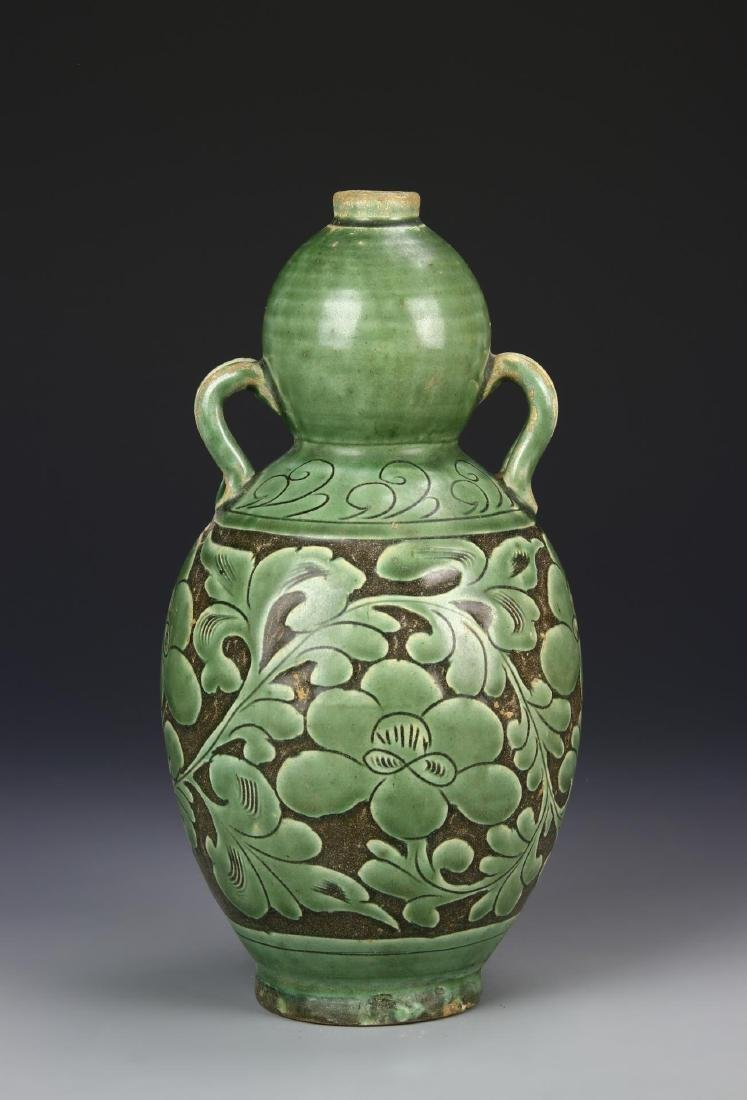 Chinese Ding Yao Green Gourd Vase