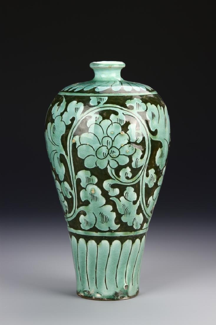 Chinese Light Green Glazed Meiping Vase