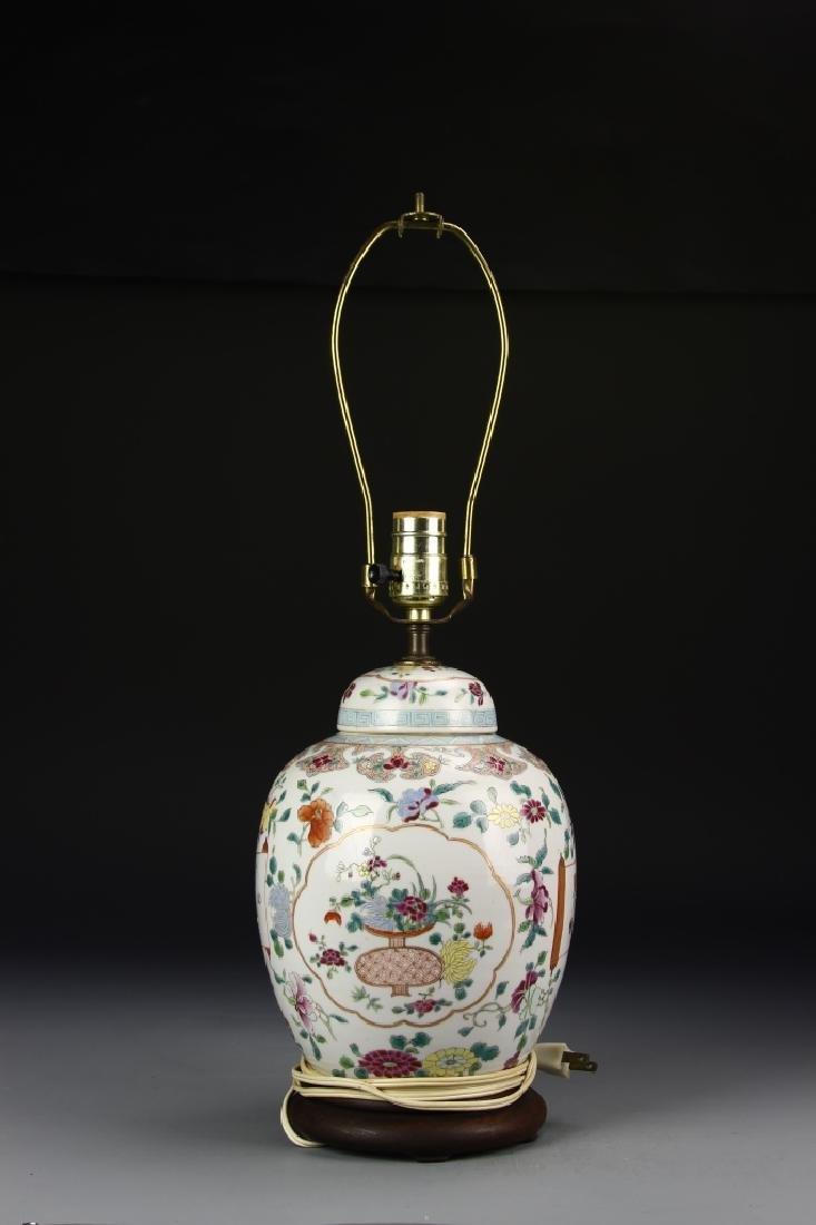 Chinese Famille Rose Jar Lamp