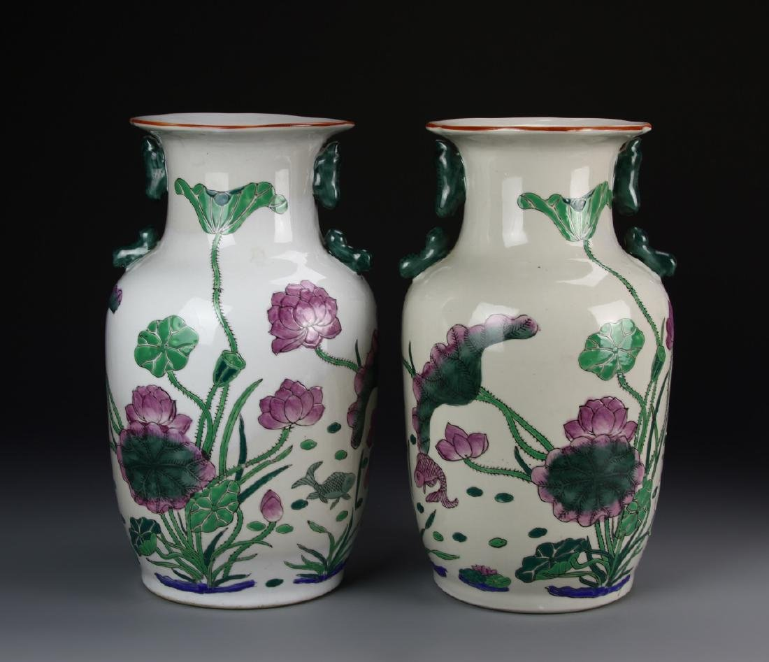 53455Chinese A Pair Of  Famille Rose Vase
