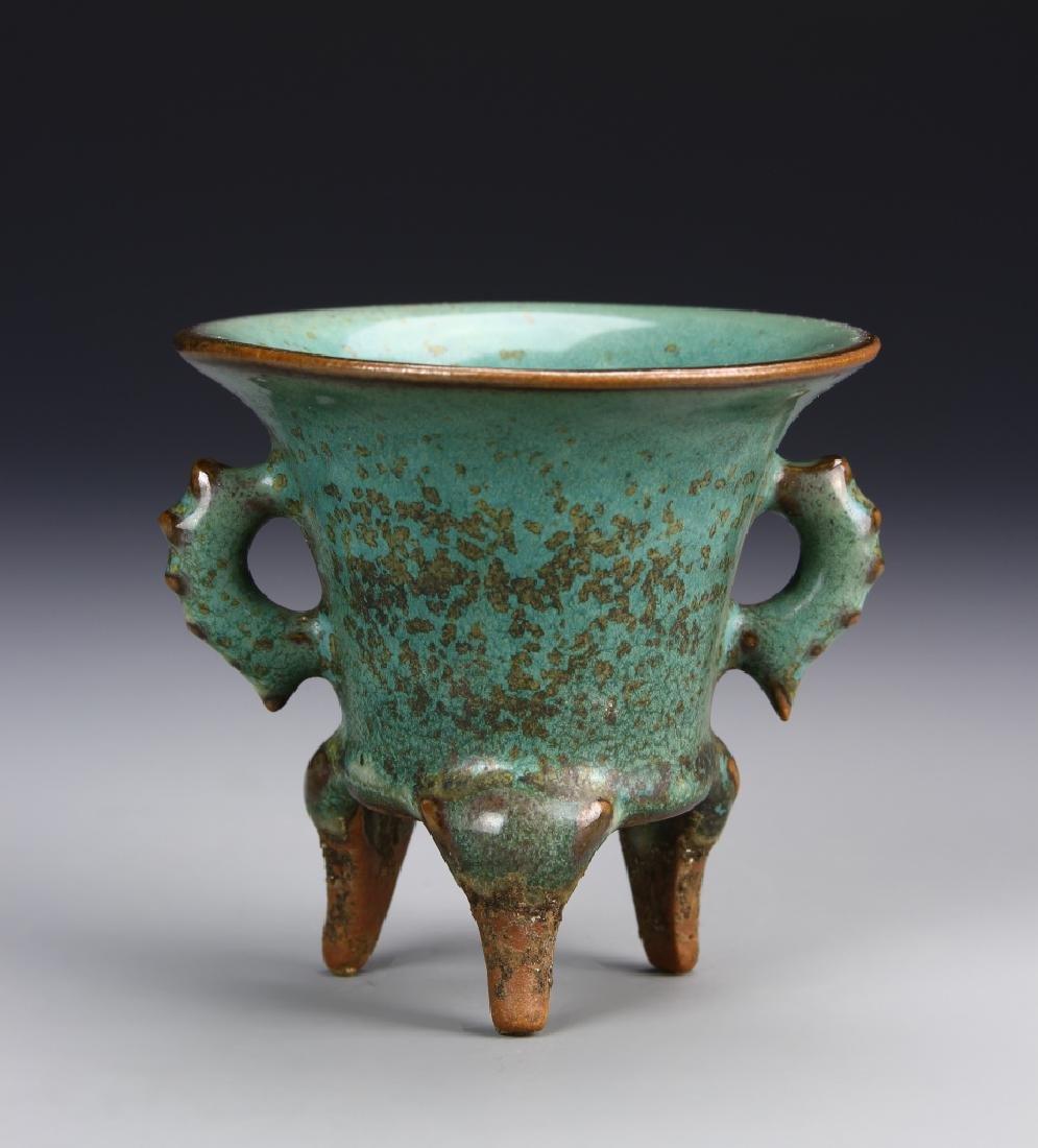 Chinese Yuan Dynasty Green Ding Yao Tripod Vessel