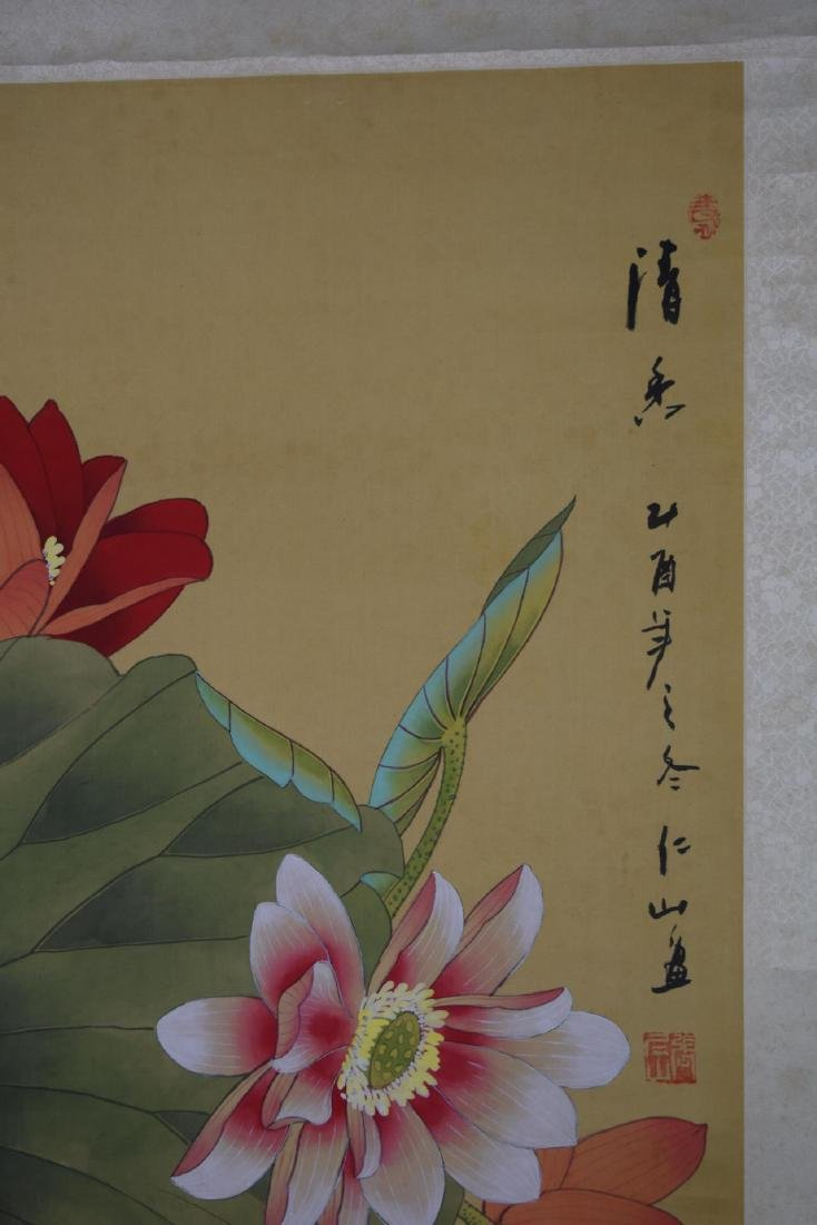 Chinese Scroll Painting Of Birds And Flowers - 3
