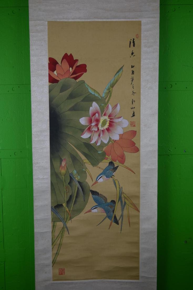 Chinese Scroll Painting Of Birds And Flowers - 4