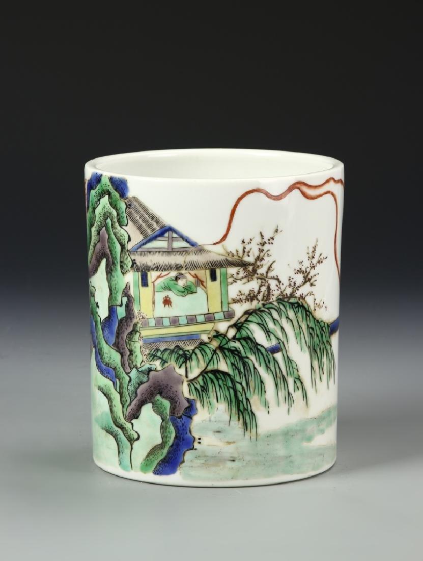 Chinese Wucai Brush Pot