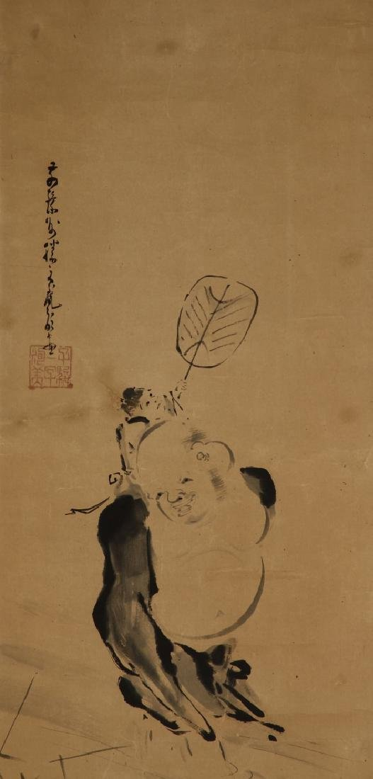 Japanese Scroll Painting of Monk - 2