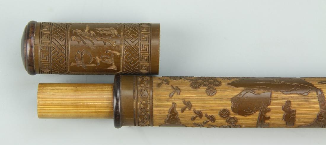 Chinese Carved Bamboo Brush Tube - 4