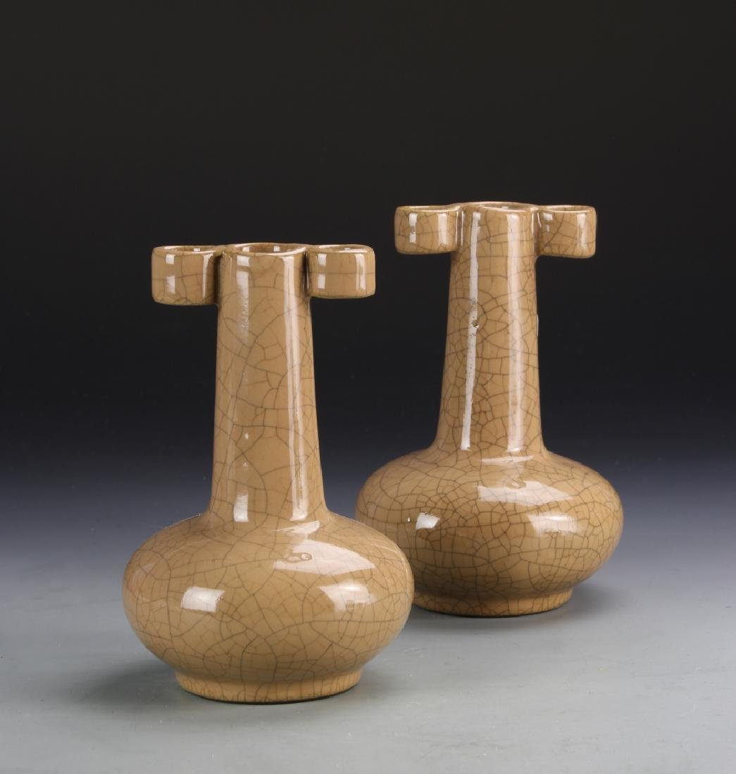 Pair of Chinese Crackle Glazed Vases