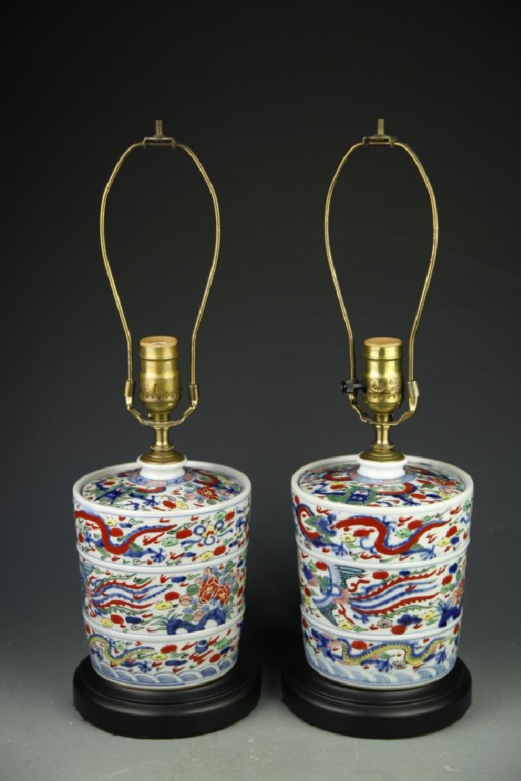 Pair Of Chinese Wucai Lamps - 2