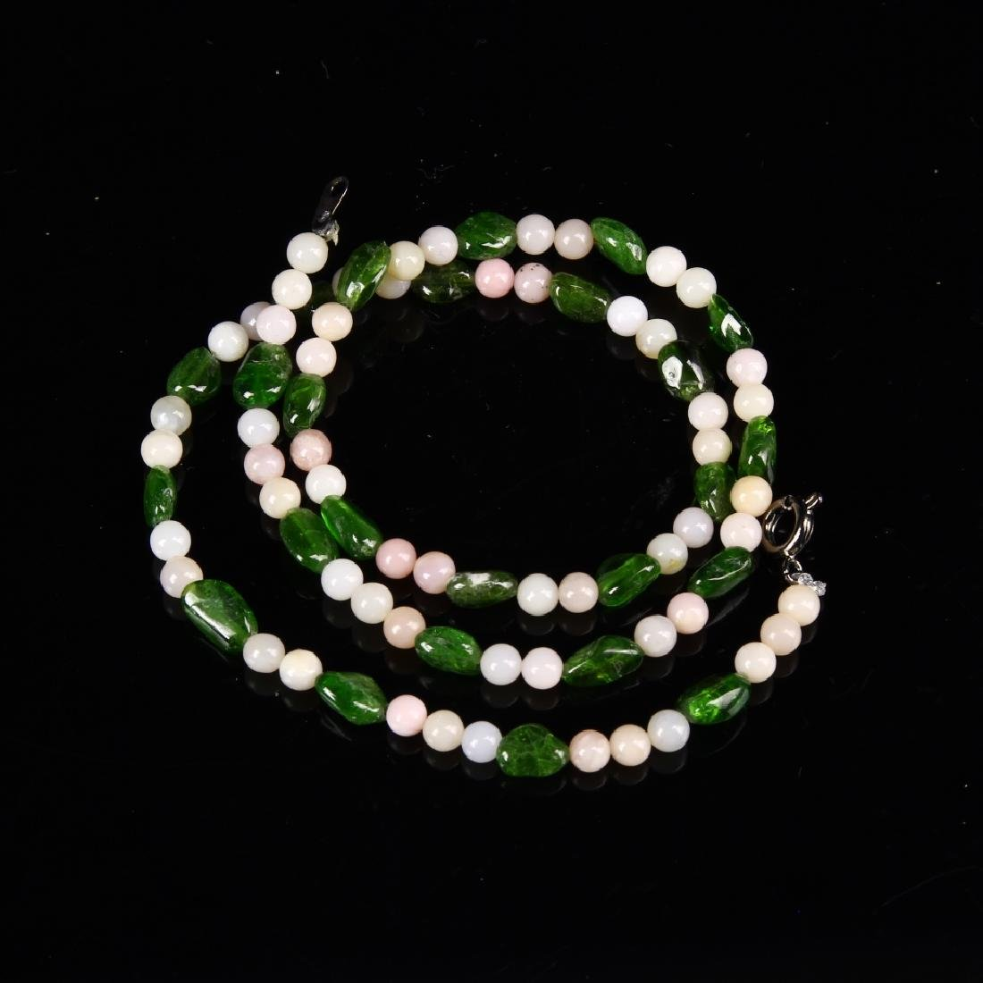 Green Emerald and Red Coral Necklace