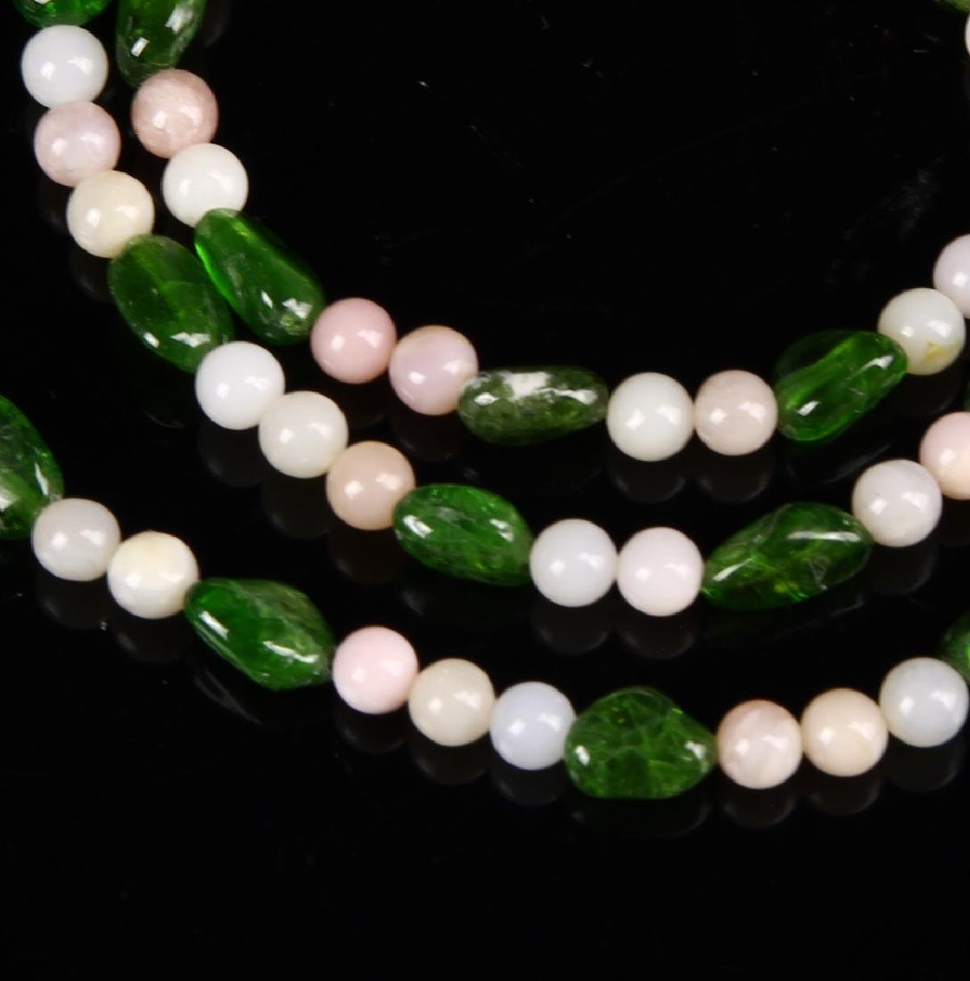 Green Emerald and Red Coral Necklace - 2