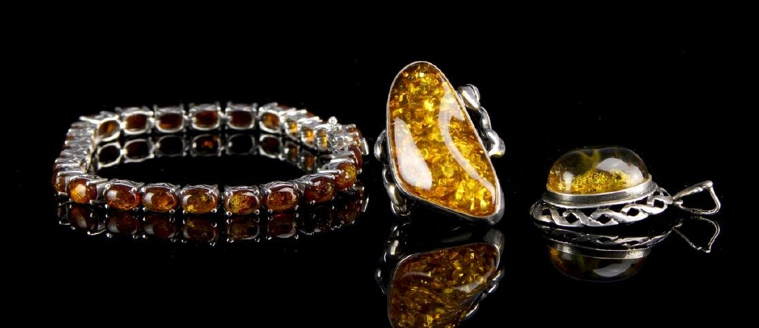 Three Pieces of Amber and Silver Jewelry