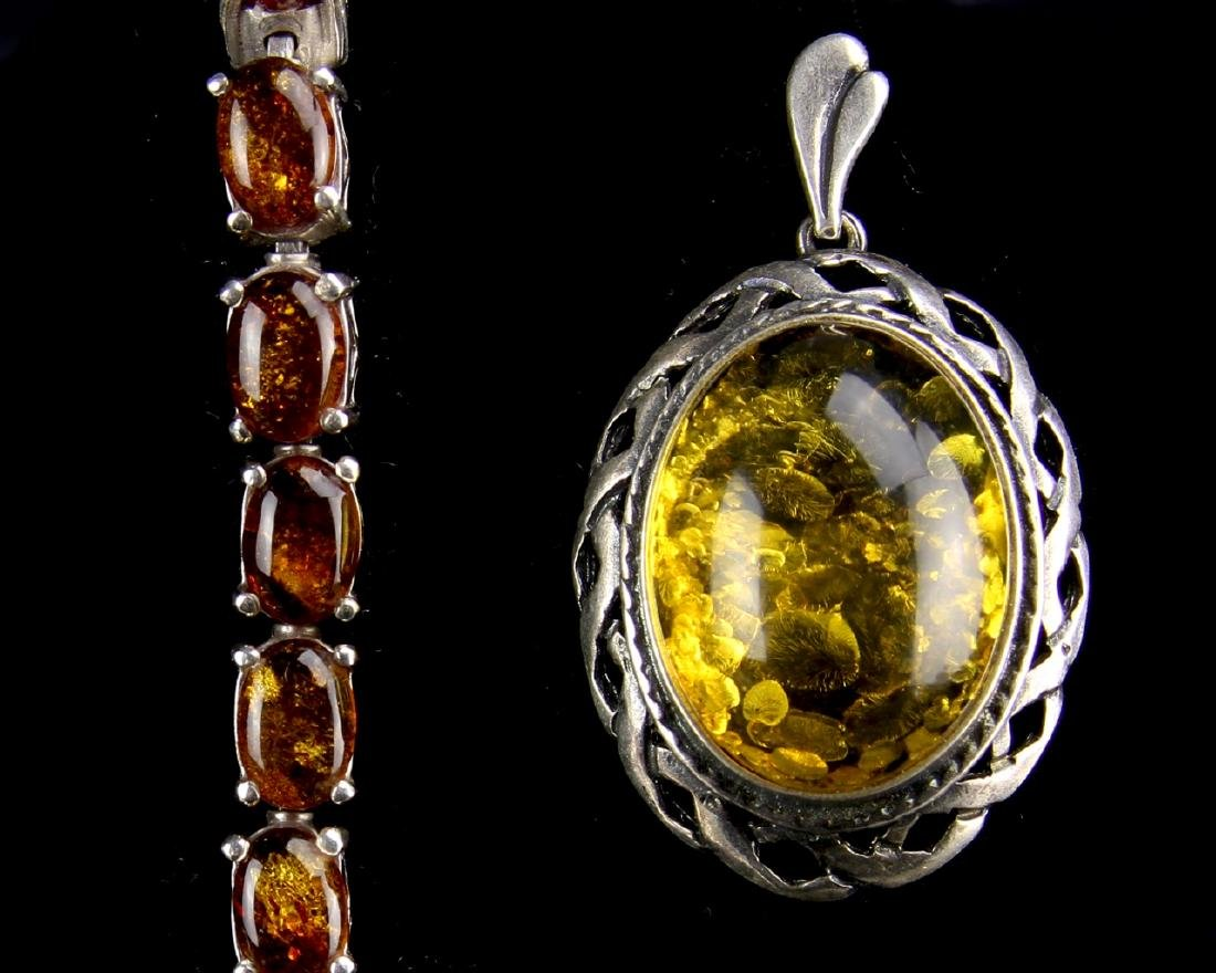 Three Pieces of Amber and Silver Jewelry - 2