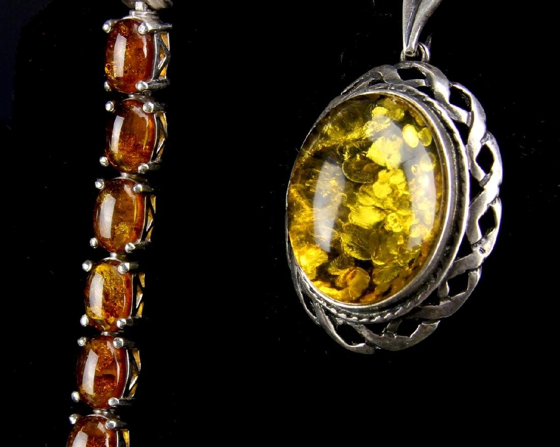 Three Pieces of Amber and Silver Jewelry - 3