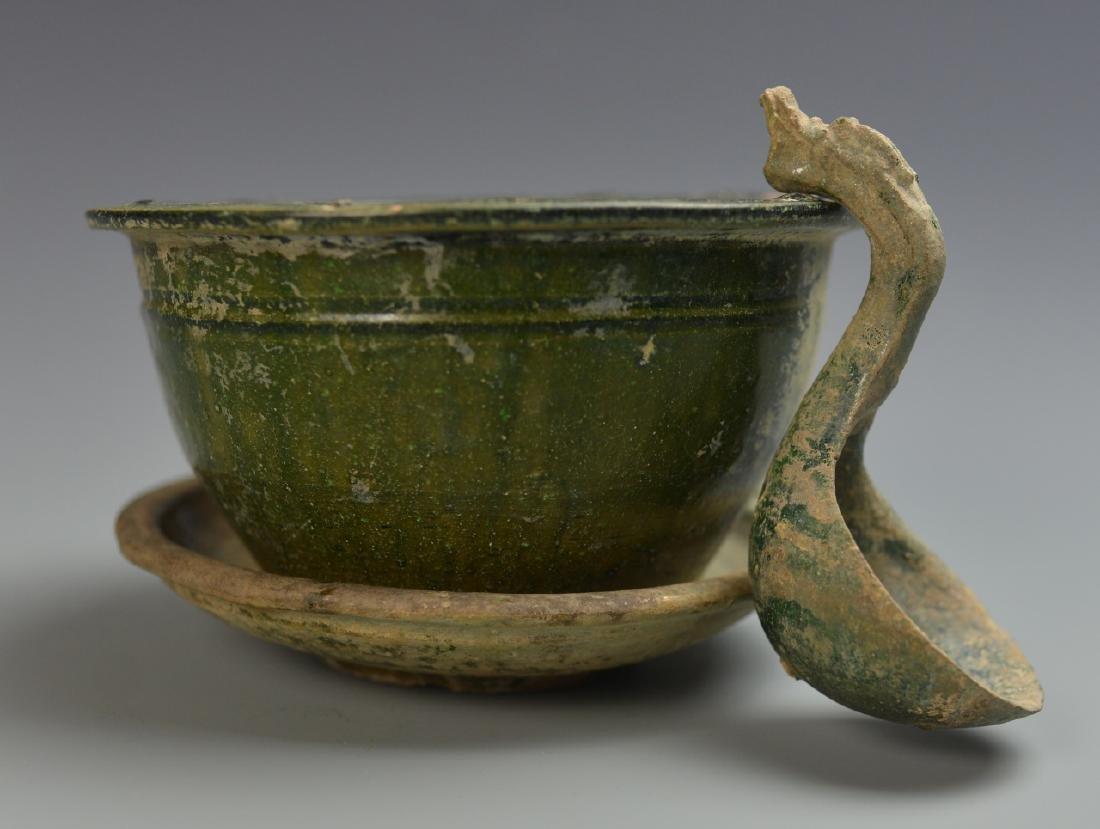 Three Chinese Green Glazed Items