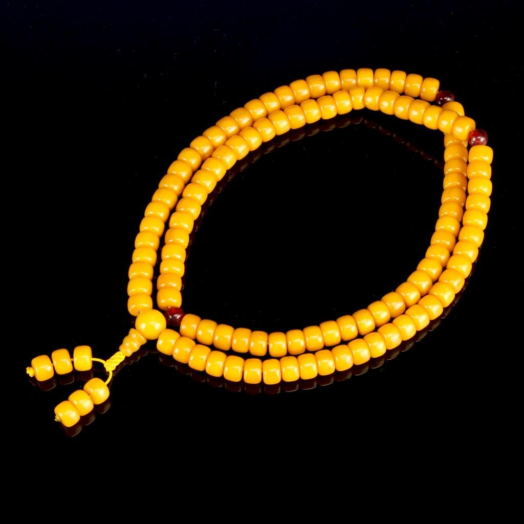 Chinese Wax Bead Prayer Necklace