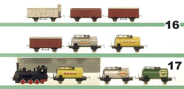 16: 6 MINITRIX-SCHIEBETRIX Güterwagen