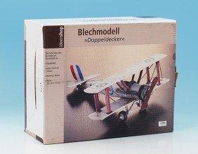 Deko Blech-Modell Doppeldecker Flugzeug