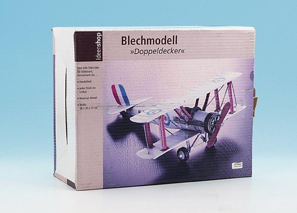 22: Deko Blech-Modell Doppeldecker Flugzeug