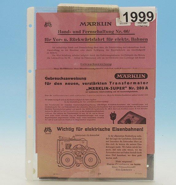 1999: 1 Konvolut MARKLIN Betriebsanleitungen, 30er J.