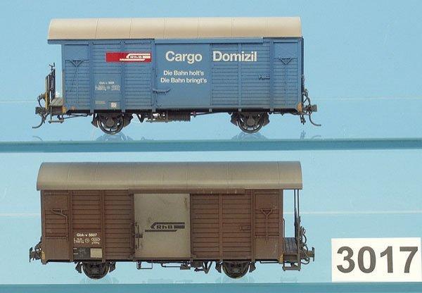 3017: 2 FerroSwiss Gueterwagen der Rh.B., Spur 0m
