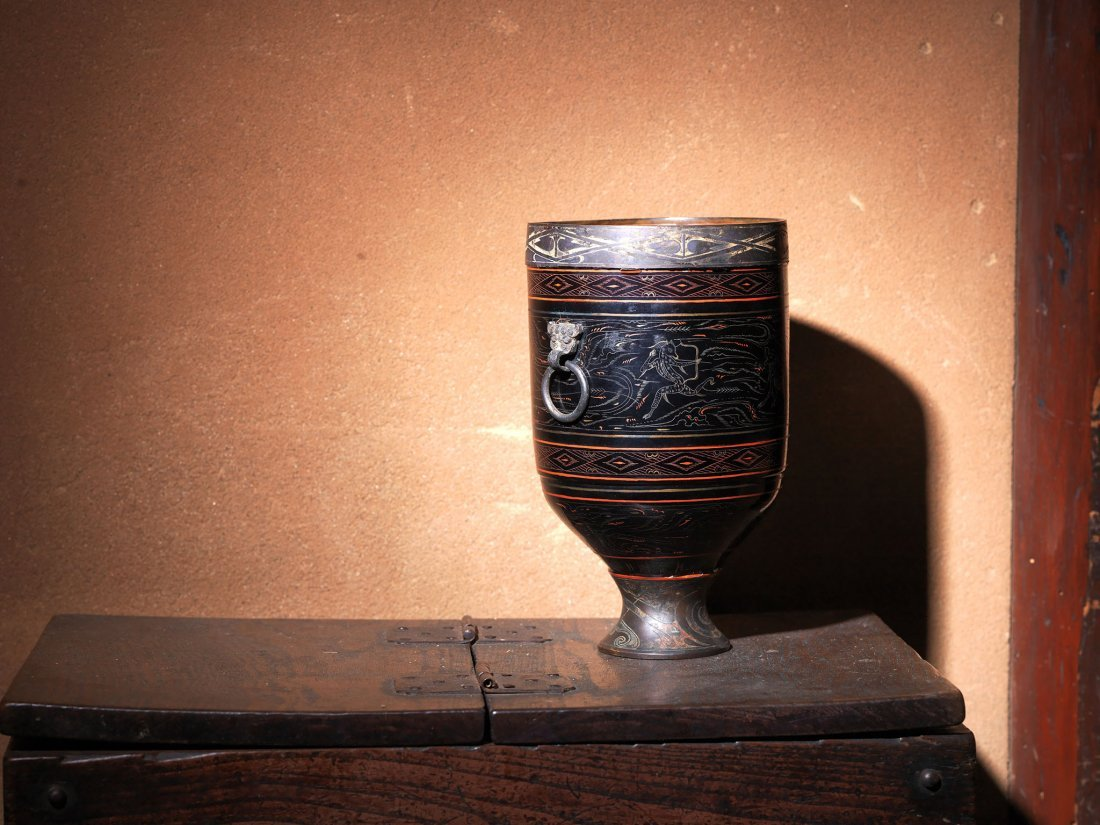 An Ancient Chinese Lacquer Inlaid Bronze Cup