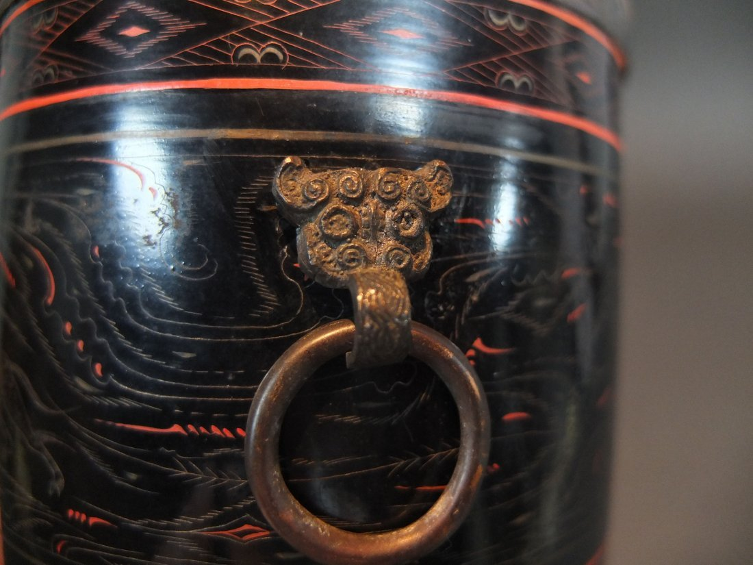 An Ancient Chinese Lacquer Inlaid Bronze Cup - 3