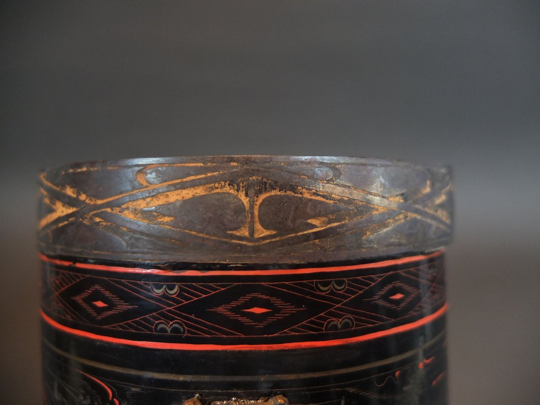 An Ancient Chinese Lacquer Inlaid Bronze Cup - 4