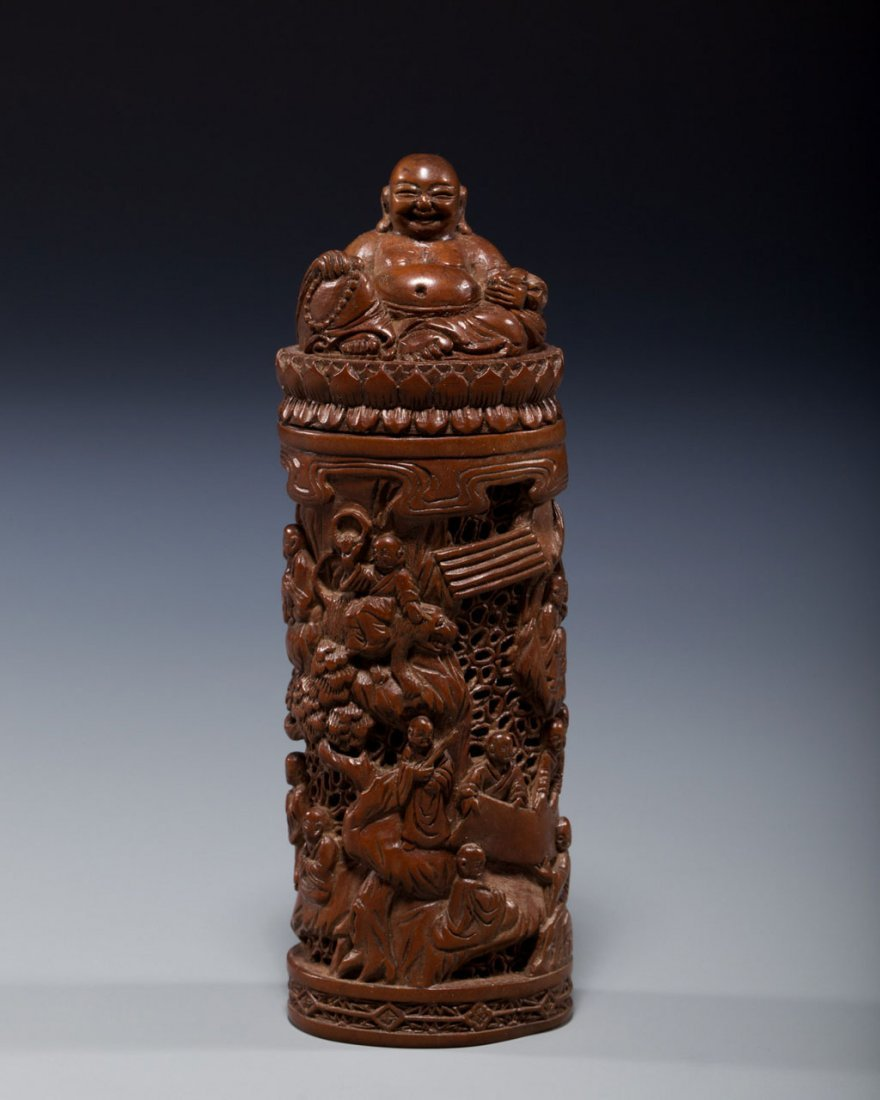 A Chinese Carved Boxwood Incense Container