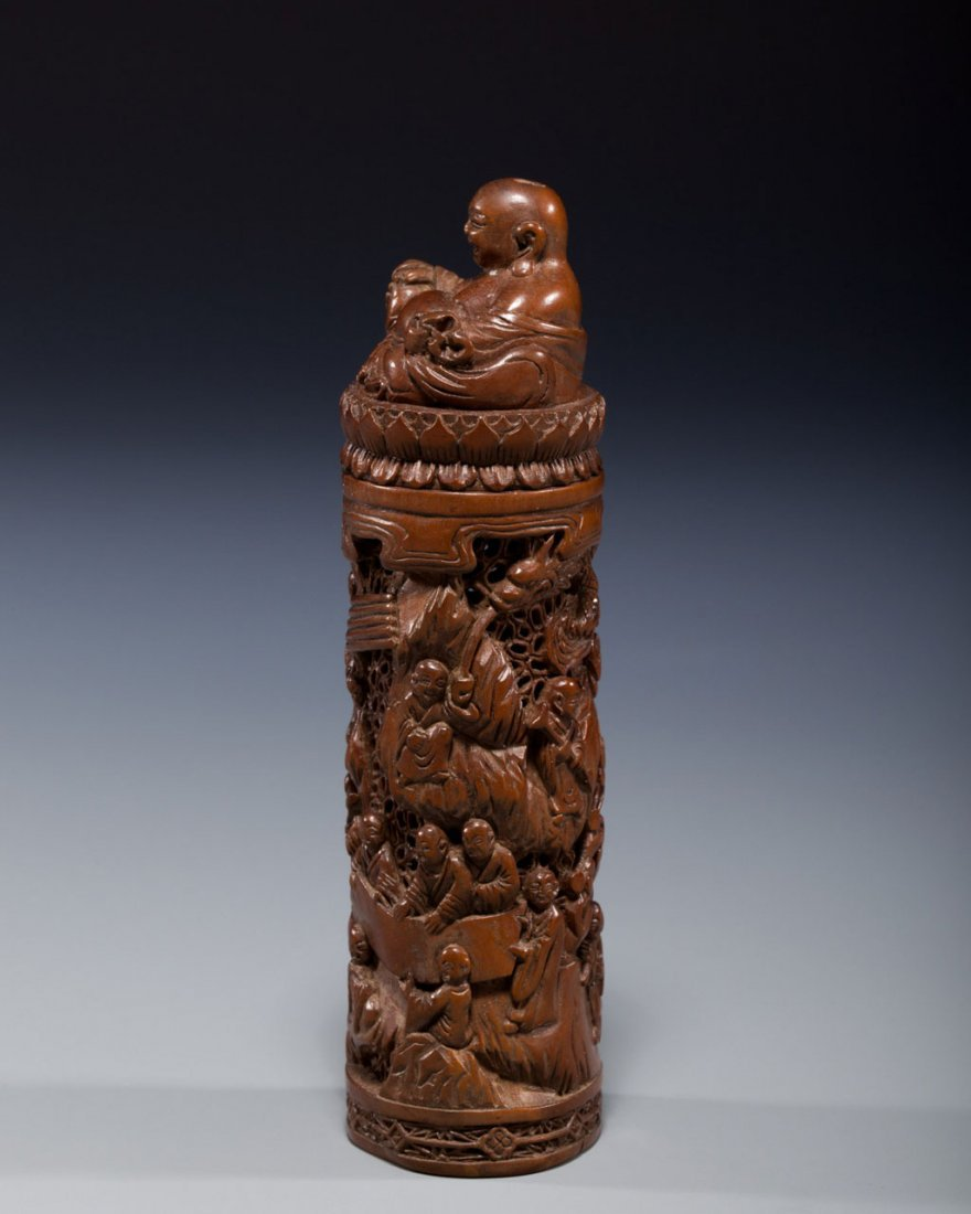A Chinese Carved Boxwood Incense Container - 2