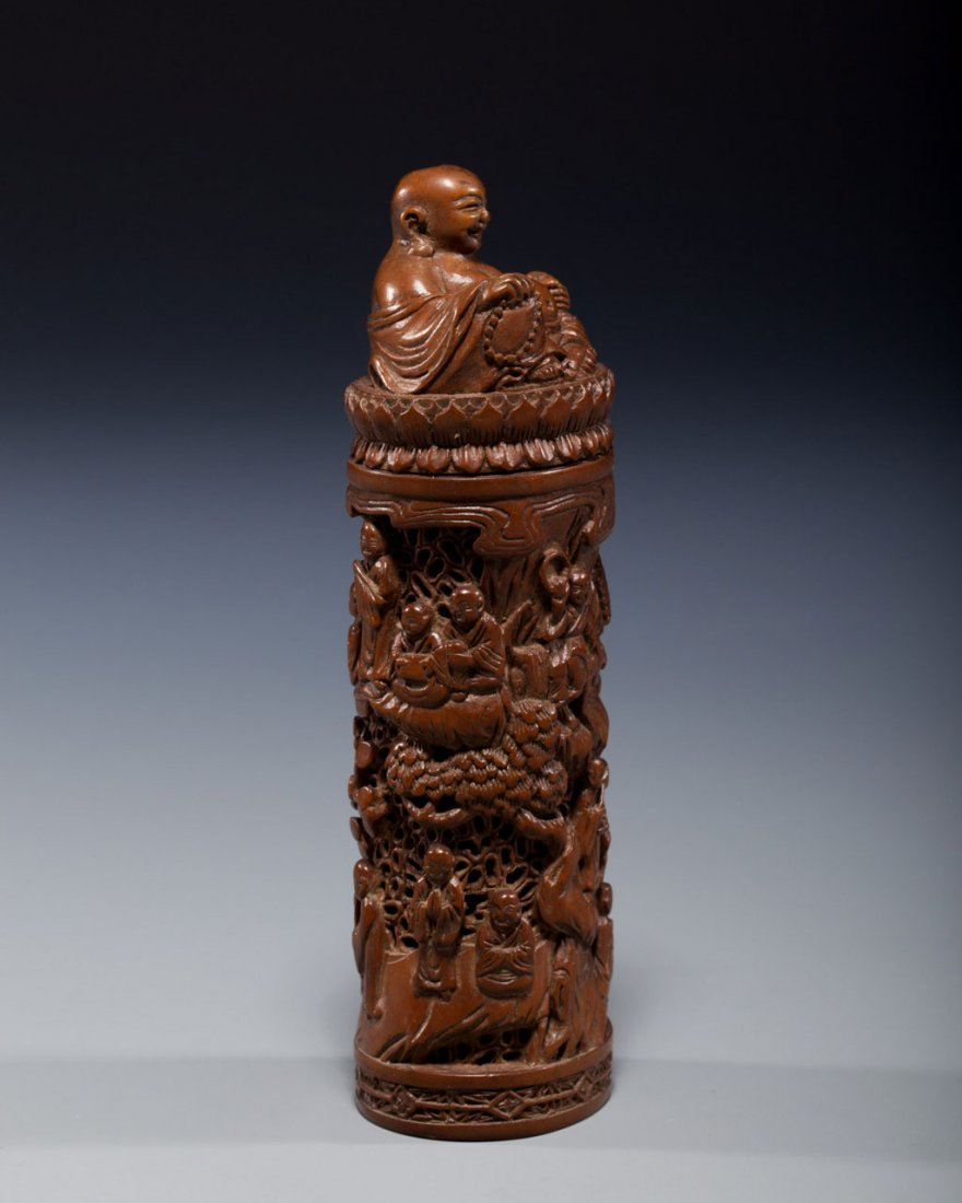 A Chinese Carved Boxwood Incense Container - 4
