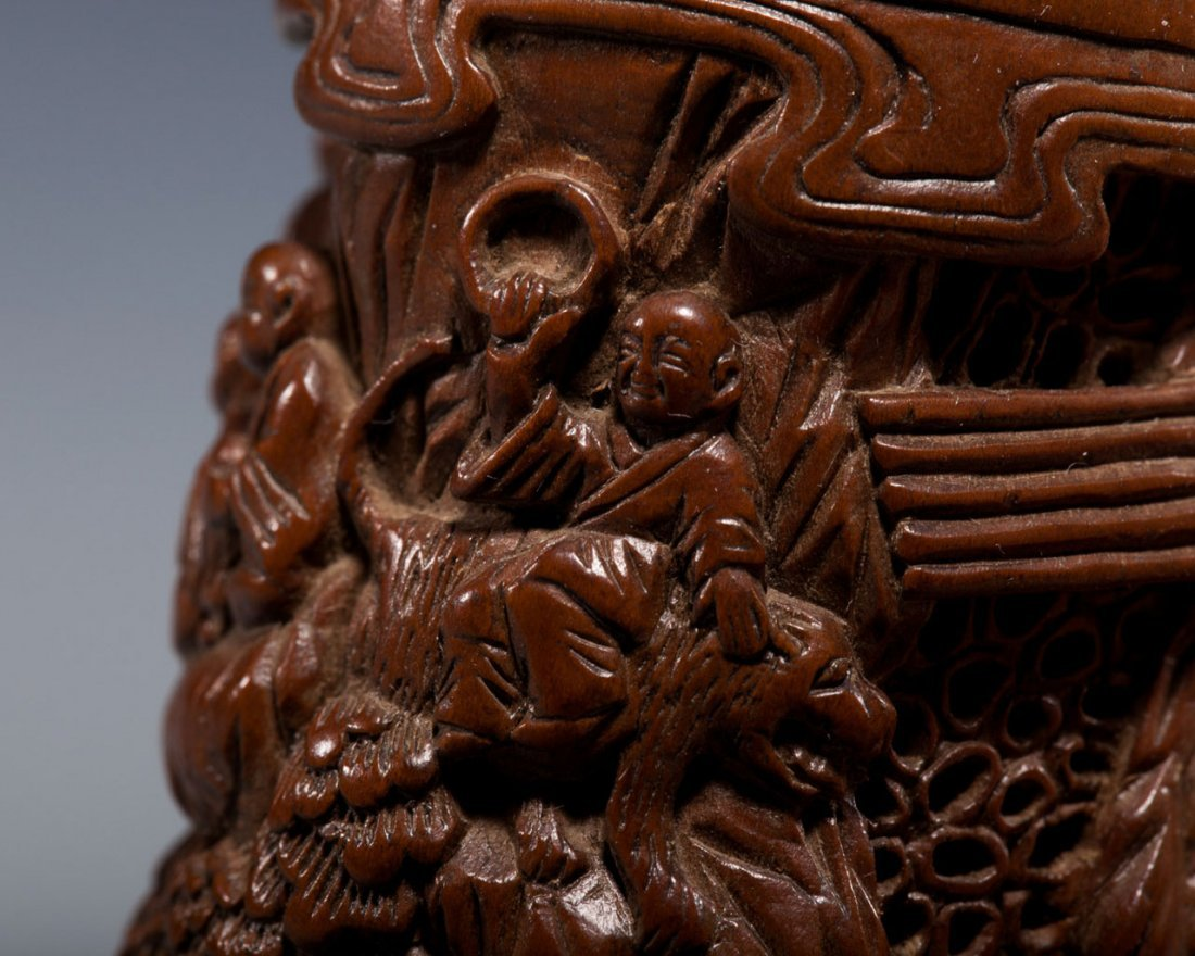 A Chinese Carved Boxwood Incense Container - 7