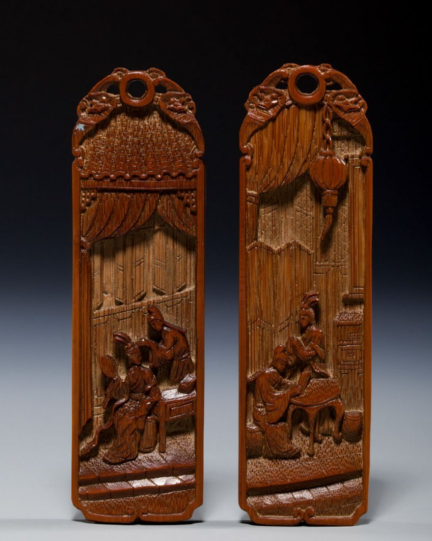 Two Chinese Bamboo Decorated Plaques