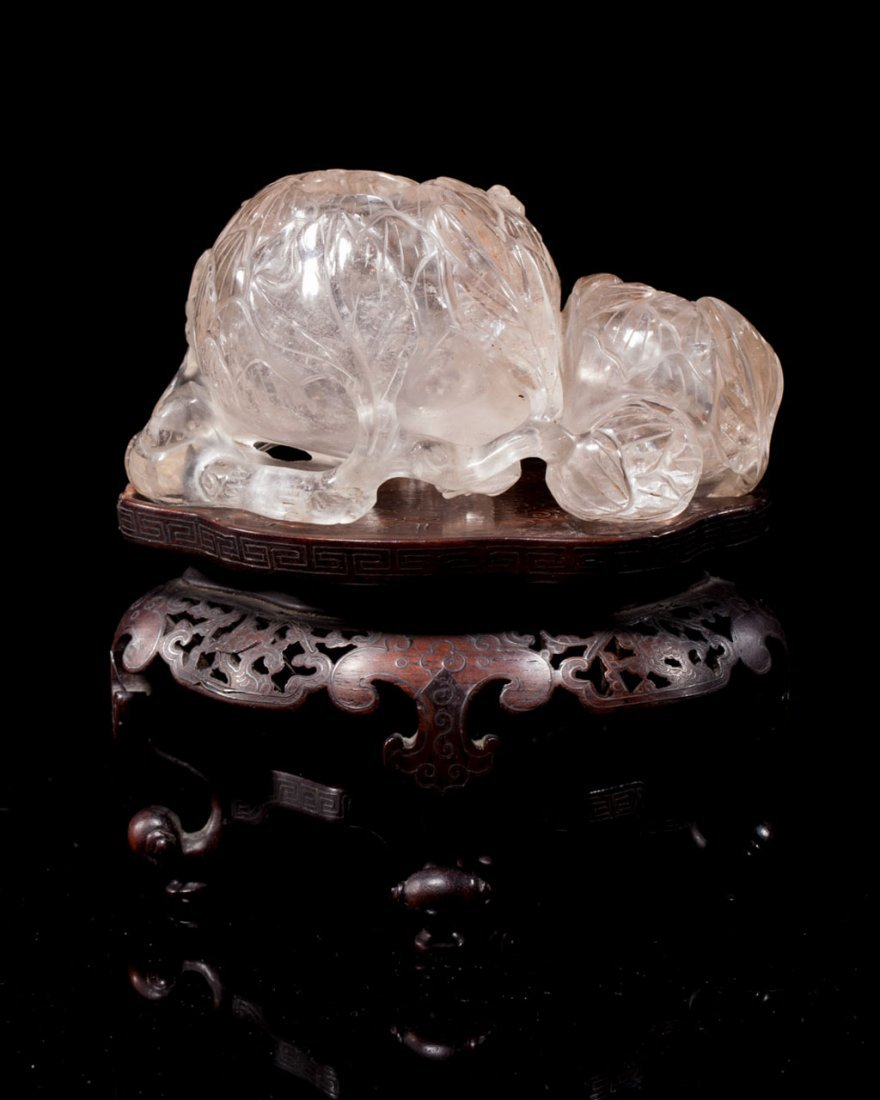 A Chinese Crystal Lotus-Form Waterpot and Zitan Stand