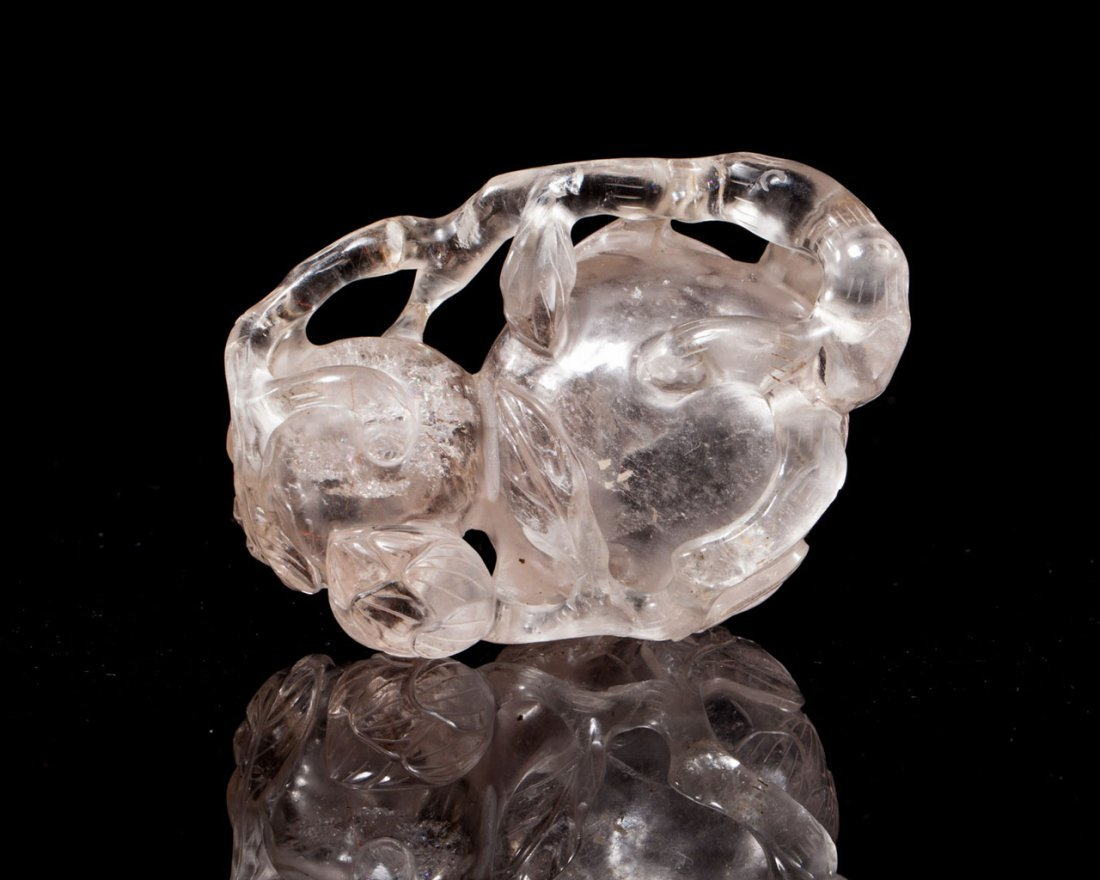 A Chinese Crystal Lotus-Form Waterpot and Zitan Stand - 4