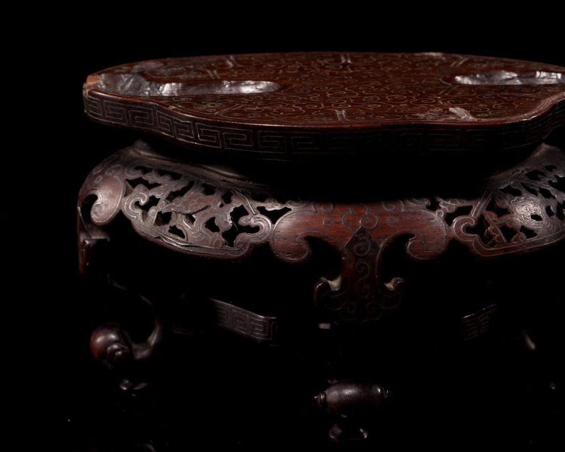 A Chinese Crystal Lotus-Form Waterpot and Zitan Stand - 9
