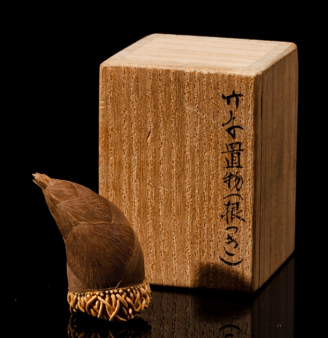 A Japanese Wooden Bamboo-Form Decoration