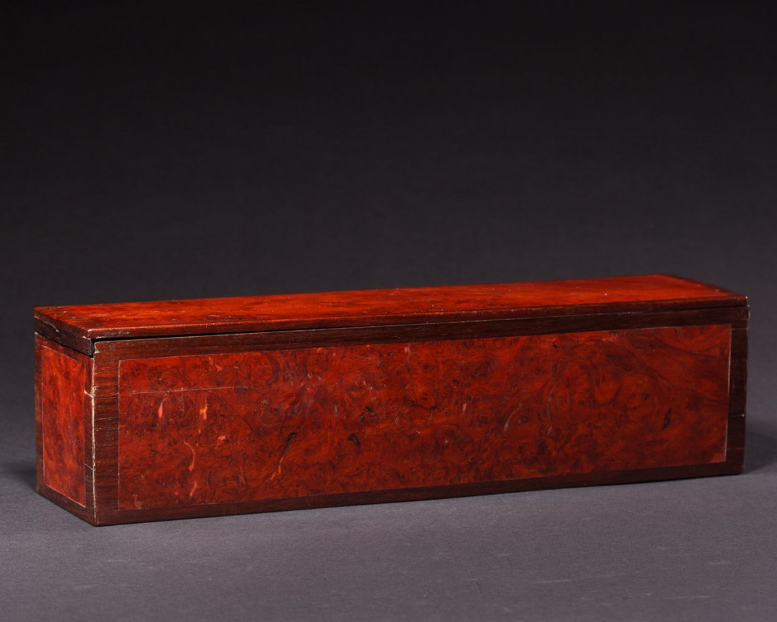 A Chinese Rosewood-Inset burlwood Box and Cover