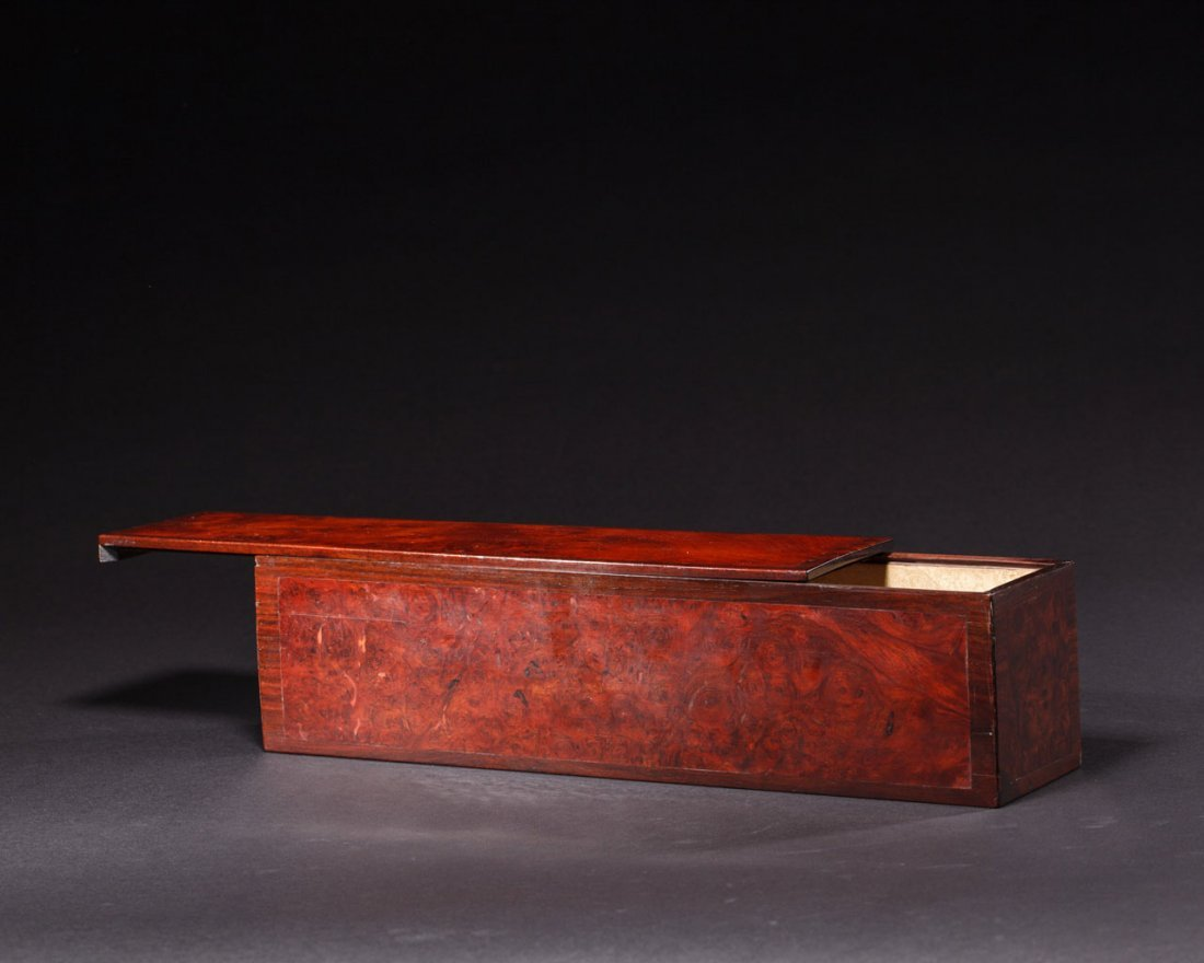 A Chinese Rosewood-Inset burlwood Box and Cover - 2